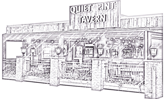 The front of The Quiet Pint building in an outlined/line drawn form.