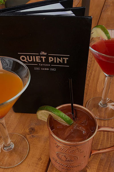 3 speciality cocktails available at The Quiet Pint