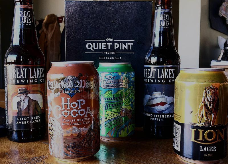 Small variety of canned and bottled beers available at the Quiet Pint.
