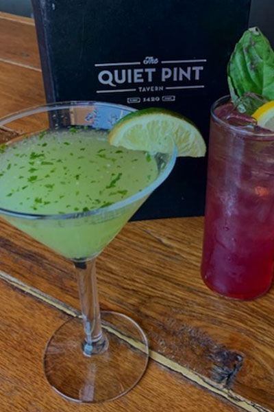 The Cucumber Cilantro Martini & Blueberry Basil Spritz mixed drinks available at The Quiet Pint