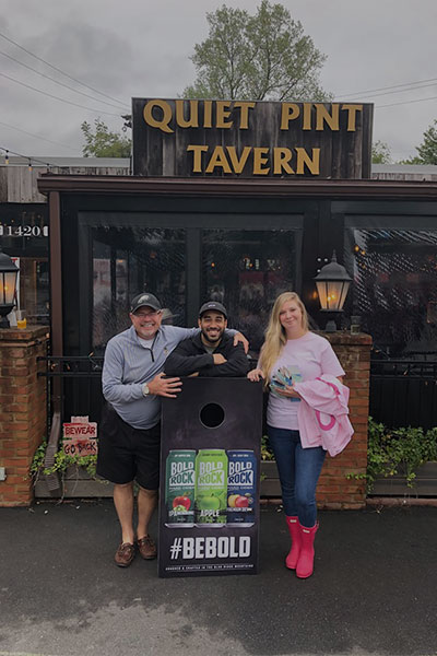 Cornhole tournament 3rd place finishers. Event sponsored by Bold Rock Hard Cider